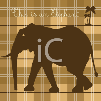 Royalty Free Clipart Image of an Elephant on a Plaid Background