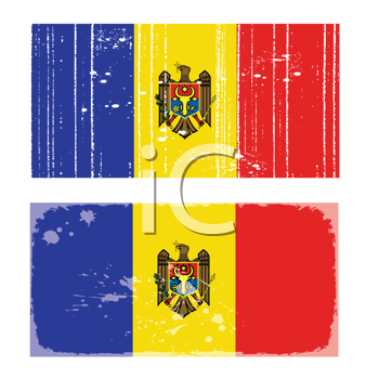 Royalty Free Clipart Image of Two Moldova Flags