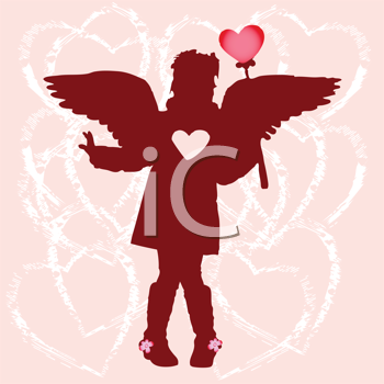 Royalty Free Clipart Image of a Girl Silhouette With Hearts and Wings