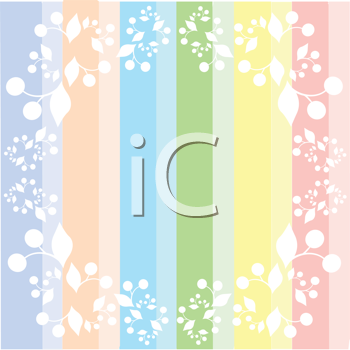 Royalty Free Clipart Image of Pastel Stripes With a Frame of Cherries in White