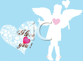 Royalty Free Clipart Image of an Angel on a Valentine Card