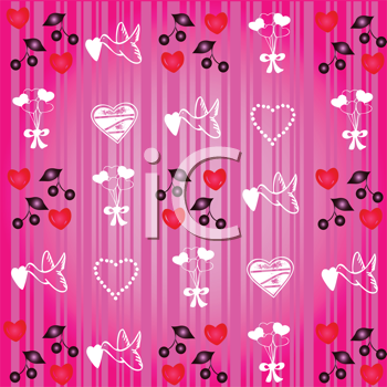 Royalty Free Clipart Image of a Valentine Pattern With Hearts and Doves