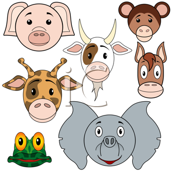 Royalty Free Clipart Image of a Collection of Animal Faces