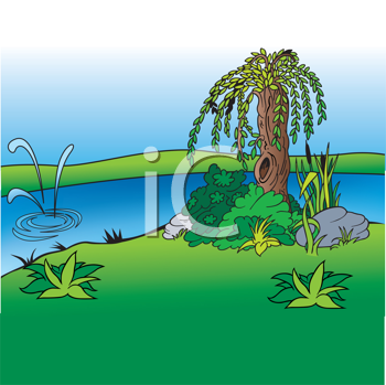Royalty Free Clipart Image of a River Scene