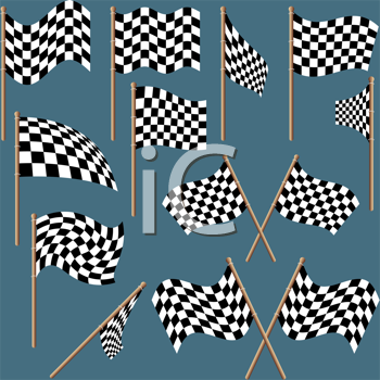 Royalty Free Clipart Image of a Set of Checkered Flags