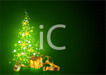 Royalty Free Clipart Image of a Christmas Card With a Tree and Gold Gifts at the Side