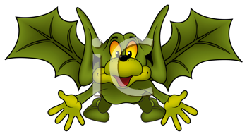 Royalty Free Clipart Image of a Green Bat
