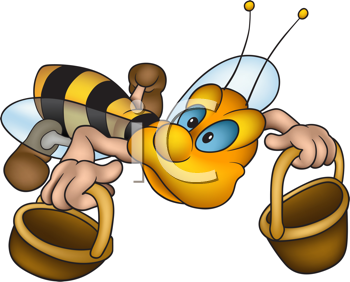 Royalty Free Clipart Image of a Bee With Buckets