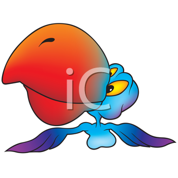 Royalty Free Clipart Image of a Flying Parrot