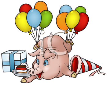 Royalty Free Clipart Image of a Partying Pig