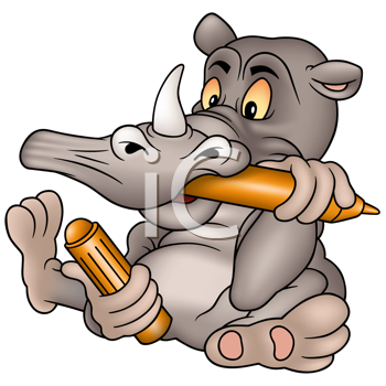 Royalty Free Clipart Image of a Rhinoceros With a Coloured Marker