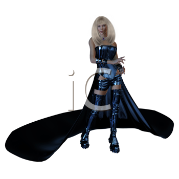 Royalty Free Clipart Image of a Futuristic Woman in a Flowing Skirt