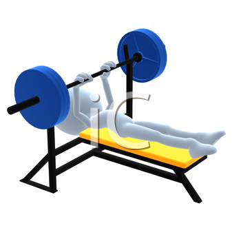 Royalty Free Clipart Image of a 3D Man With a Barbell