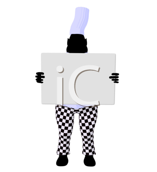 Royalty Free Clipart Image of a Chef Holding a Sign