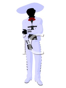 Royalty Free Clipart Image of a Man in Mexican Attire