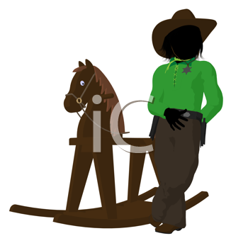 Royalty Free Clipart Image of a Little Cowboy and Rocking Horse