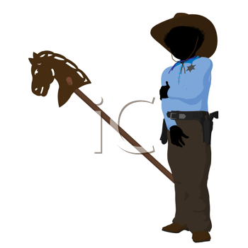 Royalty Free Clipart Image of a Little Cowboy and Toy Horse