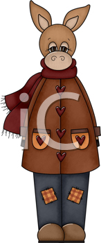 Royalty Free Clipart Image of a Burro in Winter Clothes