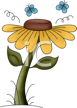 Royalty Free Clipart Image of Butterflies and a Flower