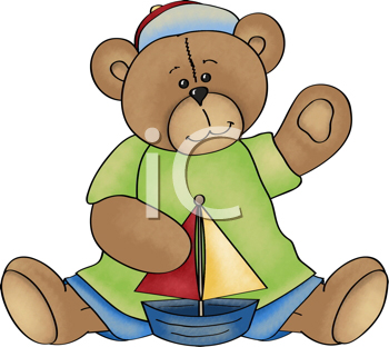Royalty Free Clipart Image of a Little Bear With a Sailboat