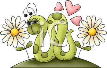 Royalty Free Clipart Image of a Worm in Daisies