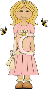 Royalty Free Clipart Image of a Girl With a Daisy on Her Dress and Bees Beside Her