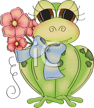 Royalty Free Clipart Image of a Frog and Flowers