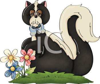 Royalty Free Clipart Image of a Skunk With Flowers