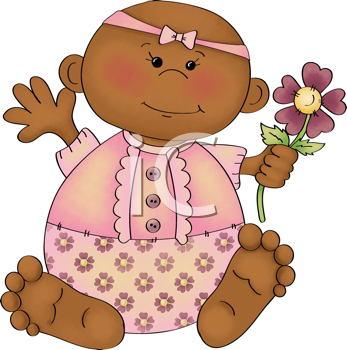 Royalty Free Clipart Image of an African American Baby With a Flower