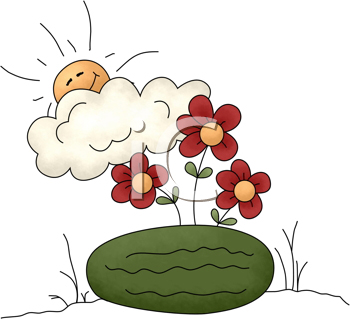 Royalty Free Clipart Image of a Watermelon With Flower and the Sun Peeking Out From Behind a Cloud