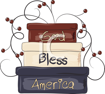 Royalty Free Clipart Image of God Bless America on Boxes