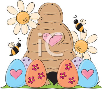Royalty Free Clipart Image of Easter Eggs, Daisies and a Beehive