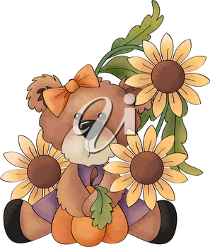 Royalty Free Clipart Image of a Bear and Sunflowers