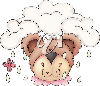 Royalty Free Clipart Image of a Bear in the Rain