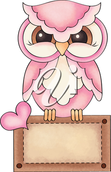 Royalty Free Clipart Image of an Owl Holding a Card