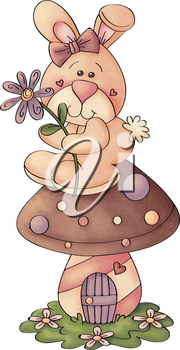 Royalty Free Clipart Image of a Rabbit on a Mushroom