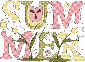 Royalty Free Clipart Image of the Word Summer