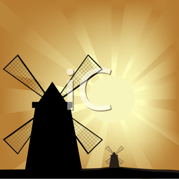 Royalty Free Clipart Image of Windmills at Sunrise
