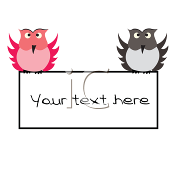 Royalty Free Photo of Two Owls Holding a Banner
