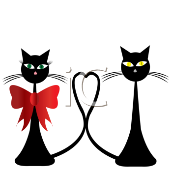 Royalty Free Clipart Image of a Two Black Cats With Tails Entwined as a Heart