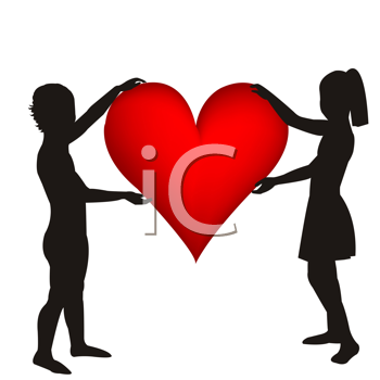 Royalty Free Clipart Image of Two Children in Silhouette Holding a Heart
