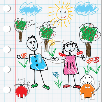 Cartoon design with doodle elements