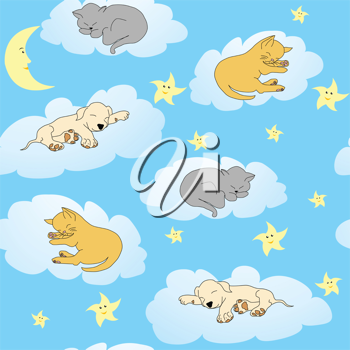 Background with sleepy animals and blue night sky
