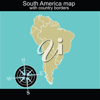 South America map with contry borders