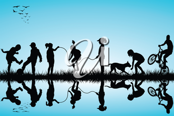 Group of children silhouettes playing
