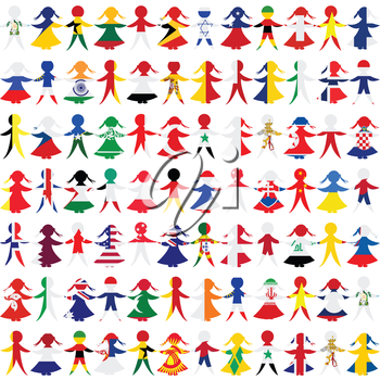 Holding hands people patterned in the World's flags background
