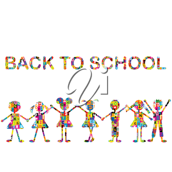 Back to school background with stylized patterned kids