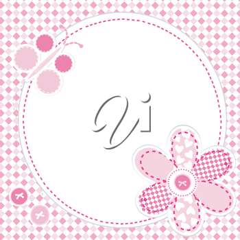 Baby girl greeting card with flower and butterfly