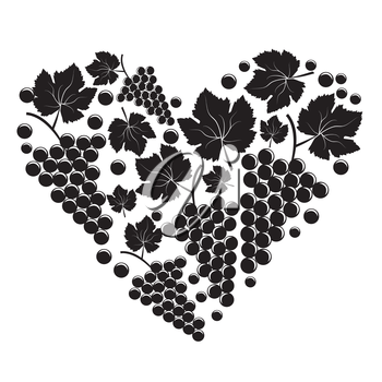 Bunch of grapes in the form of heart on white background