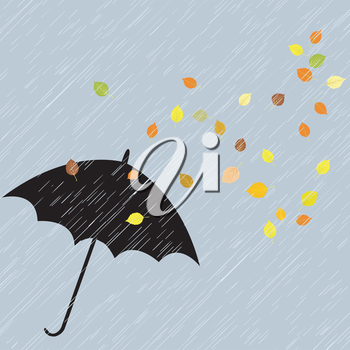 Rainy autumn background with umbrella and leaves